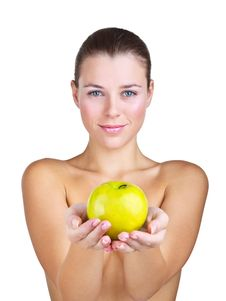 Woman Holding Apple In Front Of Stock Photo