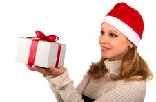 Free Attractive Young Girl With Christmas Present Royalty Free Stock Image - 21604206