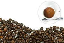 Free Coffee Cup With Coffee Bean. Stock Photo - 21606140