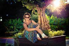 The Girl In Park Stock Photos