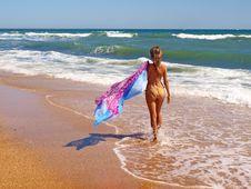 Free Young Beautiful Women On The Sunny Beach In Bikini Stock Images - 21606344