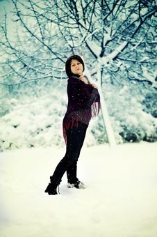 Free The Woman And Snow Stock Photography - 21606712