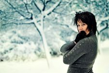 Free The Woman And Snow Stock Photo - 21606740