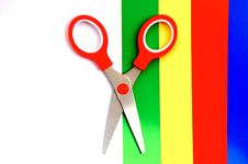 Colorful Paper With Child S Scissors Royalty Free Stock Images