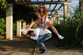 Free Girl Jumping Over A Man Royalty Free Stock Photos - 21613138