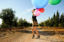 Free Girl With Balloons Stock Images - 21613134