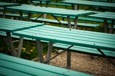 Many Green Picnic Tables Royalty Free Stock Photos