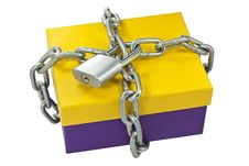 Free Cardboard Box And A Metal Chain Stock Photography - 21616162