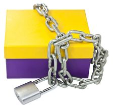 Free Cardboard Box And A Metal Chain Royalty Free Stock Image - 21616176