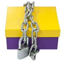Free Cardboard Box And A Metal Chain Royalty Free Stock Photography - 21616187
