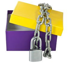Free Cardboard Box And A Metal Chain Royalty Free Stock Photography - 21616197