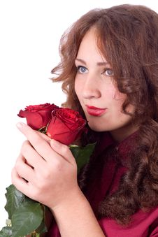 Free Beauty With Red Roses Royalty Free Stock Images - 21618269
