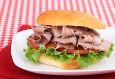 Free Roast Beef On A Bun Stock Photo - 21619860