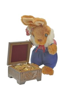 Toy Hare With A Casket. Royalty Free Stock Images