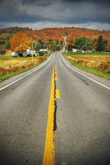 Country Road With Fall Colors Stock Photos