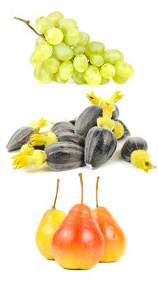 Grapes, Sunflower Seeds And Pears Royalty Free Stock Photography