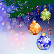 Free Christmas Balls On Blue Light Background Stock Image - 21634091