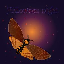 Free Halloween Background With The Night Butterfly Royalty Free Stock Photography - 21634827