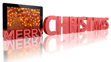 Free Tablet PC With Christmas Tree Stock Photo - 21636240