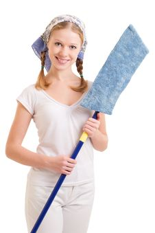 Cute Girl With Mop Royalty Free Stock Photo