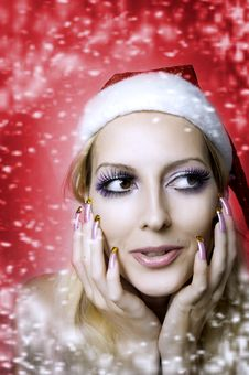 Free Woman Model. Christmas Bright Make-up Royalty Free Stock Photo - 21636995