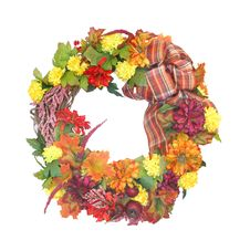 Free Autumn Wreath Isolated On White. Royalty Free Stock Images - 21637659