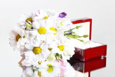 Wedding Flowers And Ring In Box Stock Image