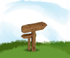 Illustration With Wooden Signs In Nature Royalty Free Stock Photos