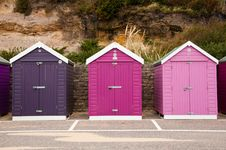 Free Colorful Beach Huts Royalty Free Stock Photos - 21645688