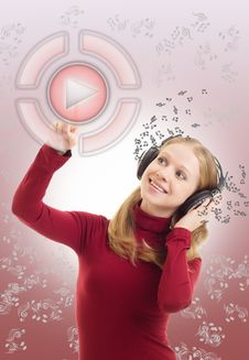 Beautiful Girl Listening To Music Stock Photos