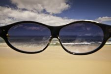Free The Future S So Bright - Sunglasses And The Beach Stock Photography - 21653732