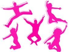 Free People Jumping Silhouette Stock Photography - 21654072