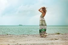 Free Woman Walking On Beach Stock Photo - 21661940