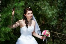 Happy Bride With Bouquet Royalty Free Stock Photo