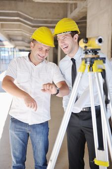 Team Of Architects On Construciton Site Stock Photography