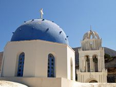 Free Blue And White Greek Church Royalty Free Stock Photography - 21671837