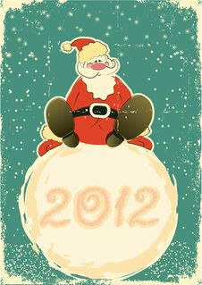 Free Santa Claus On Snowball.Retro Card For Celebrate Royalty Free Stock Photography - 21672027