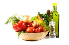 Free Fresh Vegetables And Oil Royalty Free Stock Image - 21672446