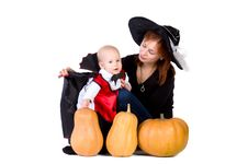 Free Halloween Baby Boy With Mother Witch Near Pumpking Royalty Free Stock Image - 21675396