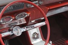 Classic Red Steering Wheel Royalty Free Stock Photos