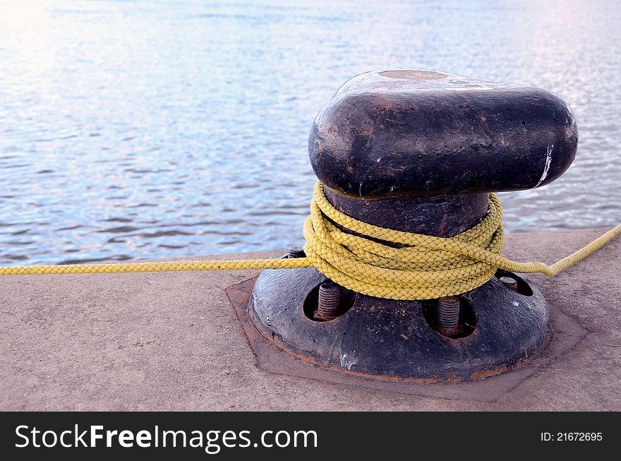 Rope rotated around pole.
