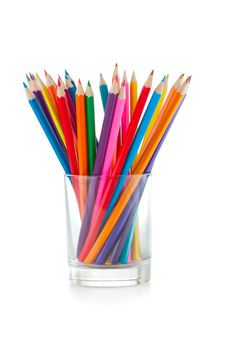 Color Pencils Pile In Glass Stock Photography