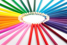 Free Set Of Color Pencils On White Stock Photos - 21682763