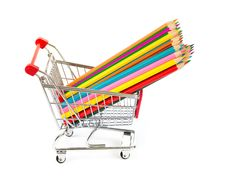 Free Color Pencils In Shopping Cart Isolated Royalty Free Stock Image - 21682916
