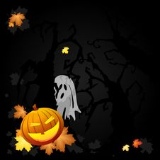 Free Ghost And Pumpkin Stock Photos - 21686163