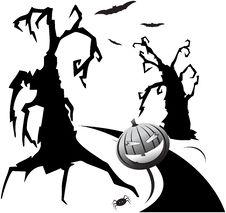 Trees, Hallowen Pumpkin And Bats Stock Photo