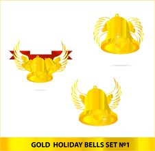Glass Gold Bells Set Isolated Stock Photo