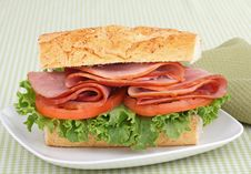 Ham, Lettuce And Tomato Sandwich Stock Image