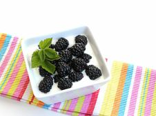 Free Blackberries On Yogurt Royalty Free Stock Image - 21696206