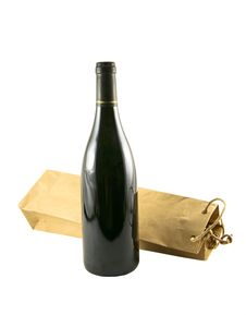 Free Wine Bag And A Bottle Of Wine Stock Photo - 2170010